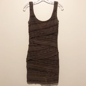 Le Chateau Brown Wrapped Lace Mini Dress